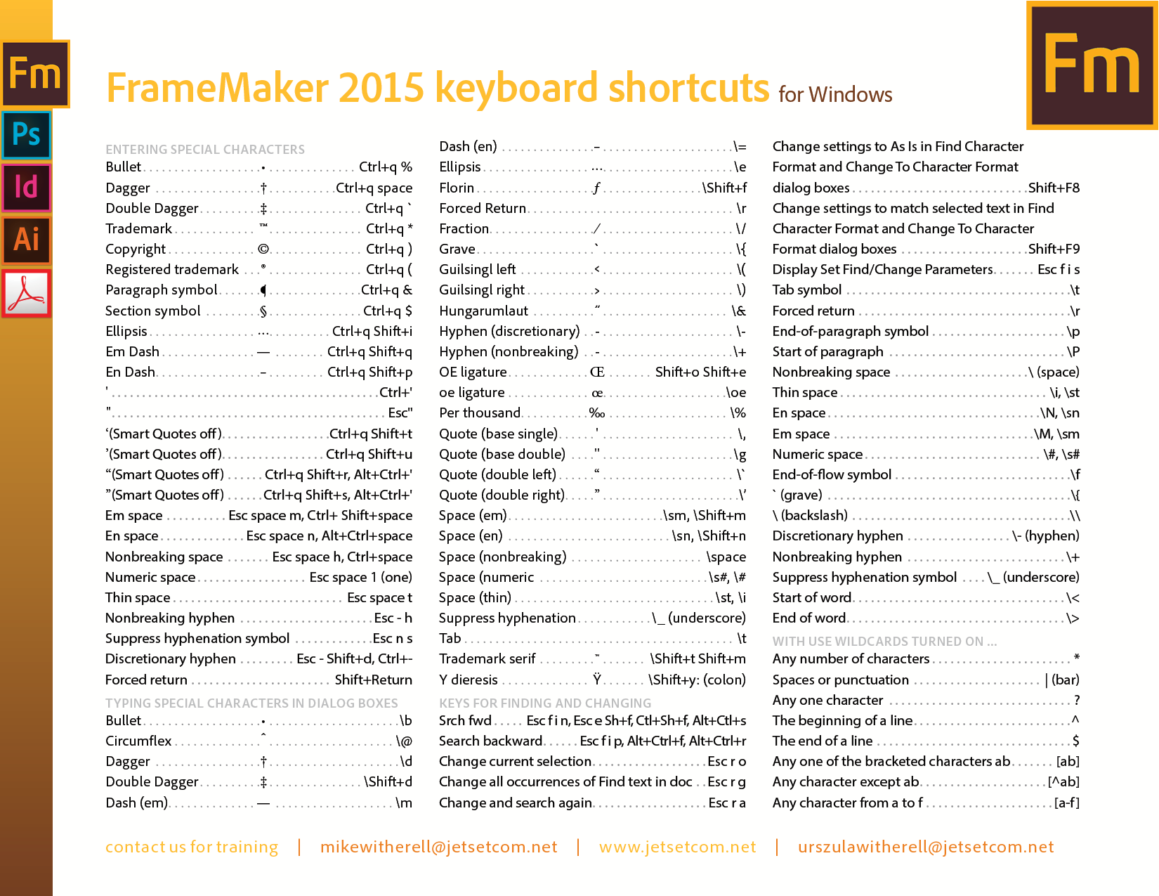 FrameMaker 2015 keyboard shortcuts for Windows