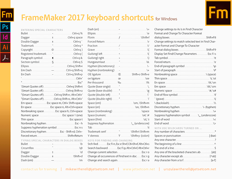 FrameMaker 2017 common keyboard shortcuts