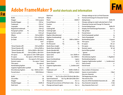 FrameMaker 9 shortcuts