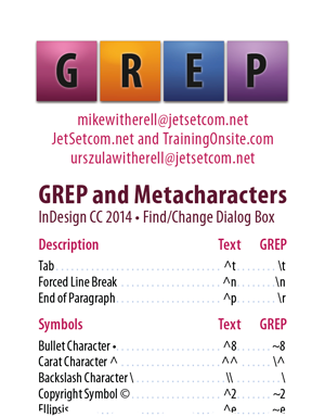 InDesign CC 2014 GREP and Metacharacters 1-column for smartphones