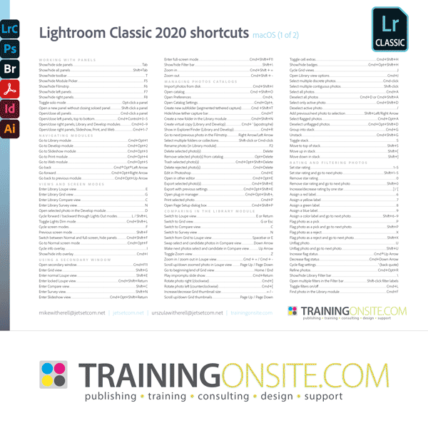 Lightroom Classic 2020 keyboard shortcuts
